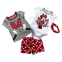 Disney Minnie Mouse 4 Pieces Baby Girls Clothing Set,100% Cotton(5 Differents St - $9.99