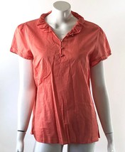 Gap Top Size XL Pink Peach Blouse Ruffle Neck Short Sleeve Cotton Solid Shirt - $10.29
