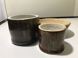 3 Piece Handcrafted Brown Pottery  - $14.85