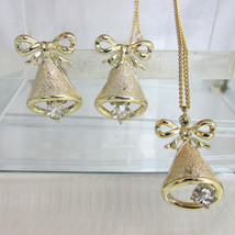 Vintage Golden Holiday Bells Rhinestone Clapper Pendant Necklace & Earri... - $18.00