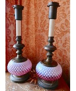 PAIR Old Fenton RARE Cranberry Opalescent Hobnail TABLE  lamp METAL BASE - $499.99