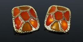 "Vintage Gold Tone Amber Colored Web "" ARTWORKS "" Costume Jewelry Earrings - $11.69"