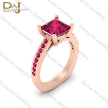Sleeping Beauty Princess Aurora Inspired Pink Ruby Bridal Wedding Ring J... - $78.19+