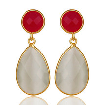 Pink Chalcedony White Moonstone 925 Sterling Silver Drop Earrings Jewelry - $24.75