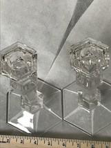 "Candlesticks 9"" Tall Crystal Candlesticks Signed Val St. Lambert Louvre - $68.83"