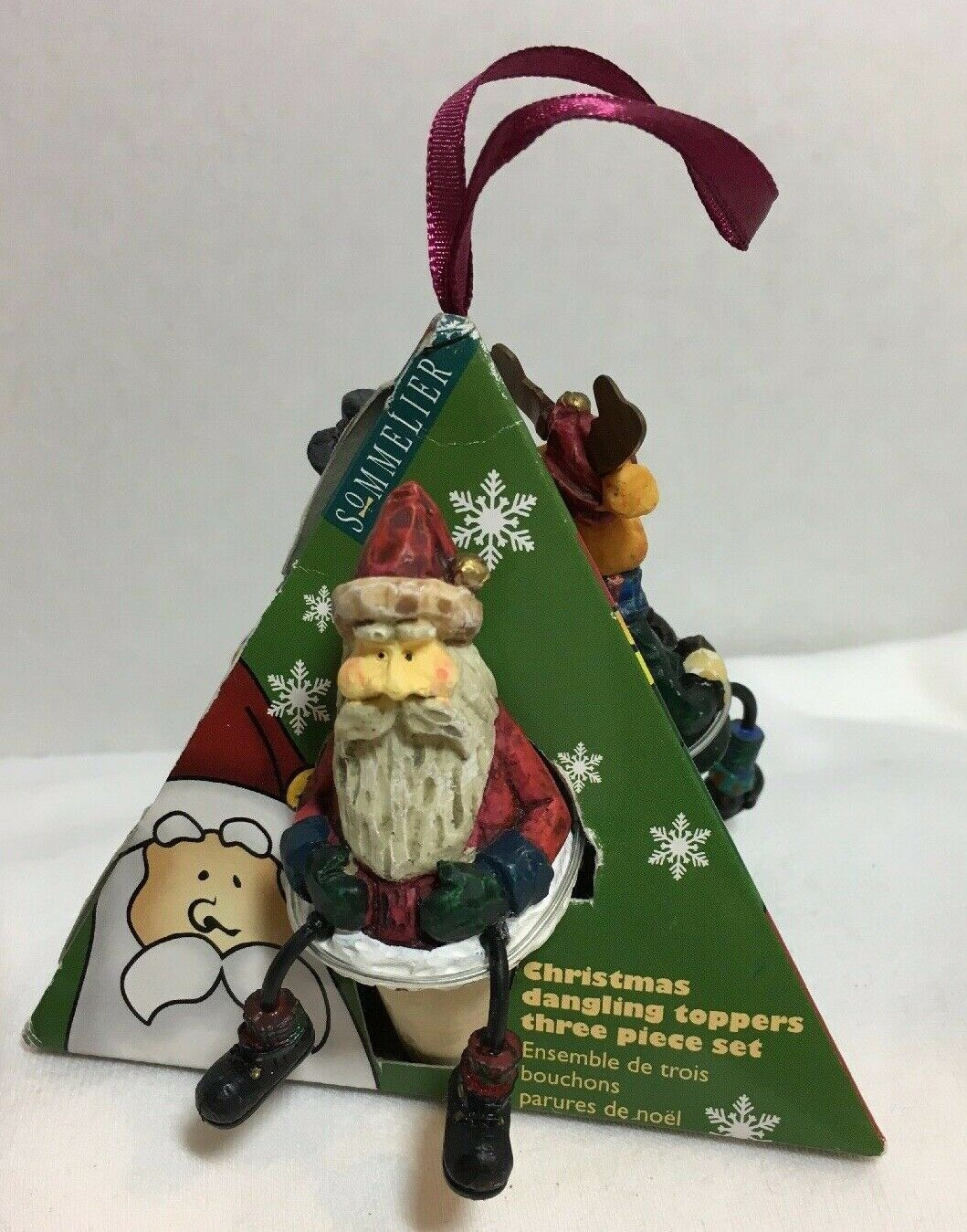 Primary image for Wine Stoppers Dangling Toppers 3 piece Santa Reindeer Snowman Holiday Christmas