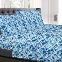 Aqualina Blue Geometric Pattern 4-Piece 1500 Supreme Collection Sheet Set - $21.99+