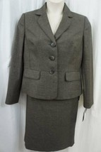 Le Suit Skirt Suit Sz 12 Bark Grey Rock Hill Faux Pocket Career Business... - $79.17