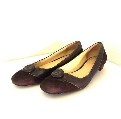 Primary image for Ann Taylor Loft Shoes 7 M Flats Loafers Chocolate Brown Suede Leather Button