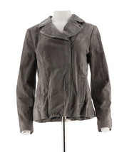 Isaac Mizrahi Suede Motorcycle Jacket Printed Lining Pockets Grey 8 NEW ... - $98.36