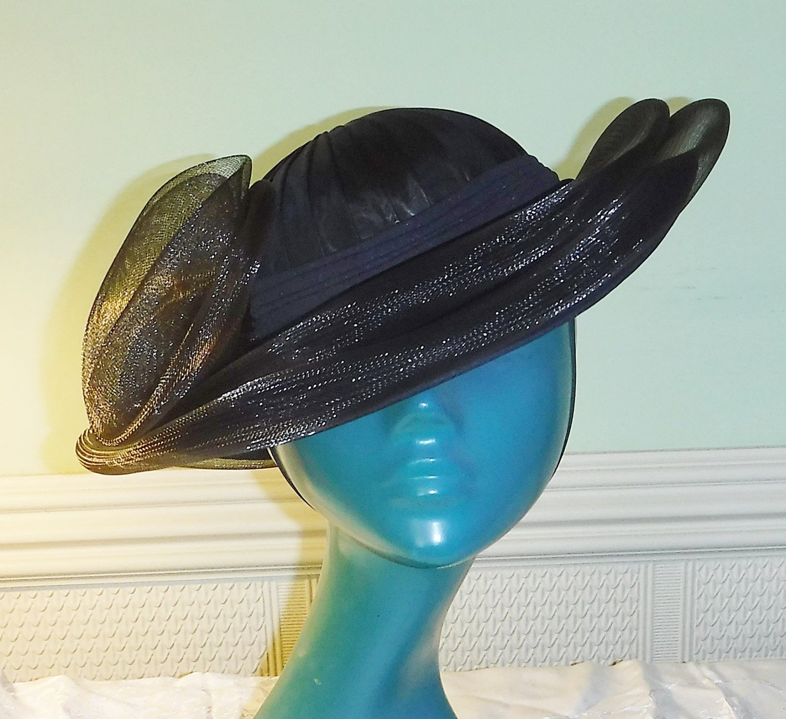 C & A*  BLACK STYLISED BOWLER HAT PLEATED TAFFETTA CROWN NET ROSSETTES PERCHER