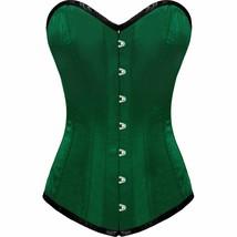 Green Satin Gothic Burlesque Bustier Waist Training LONG Overbust Corset... - $64.99