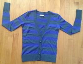 Old Navy Women's V- Neck Sweater/ Cardigan Size XS Purple/ Gray Striped - $12.86
