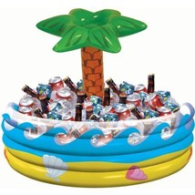 NEW Luau Party Vinyl Yellow Blue Inflatable Palm Tree Pool Drink Beverag... - $32.81