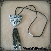 Leopard Rhinestone Pendant Silk Cord Necklace - $11.88