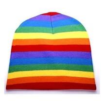 LGBT Retro Punk Winter Ski Snowboarding ~ Rainbow Stripe Beanie FT399 ( ... - £9.24 GBP