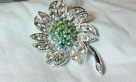 Vintage Silver tone Crystal Flower W/White & Green Crystals Brooch Pin S... - $14.99