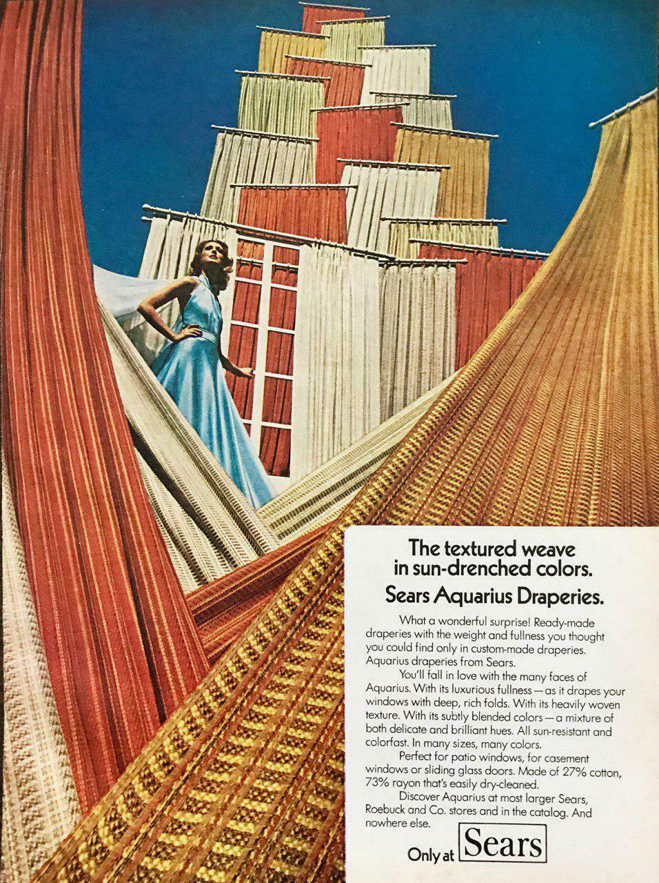 Primary image for 1974 Sears Aquarius Draperies Print Ad Great Infinity Drapes Model Photo