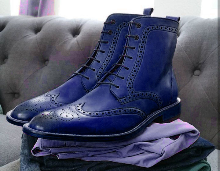 Handmade Men's Blue Leather Wing Tip High Ankle Lace Up Heart Medallion Boots