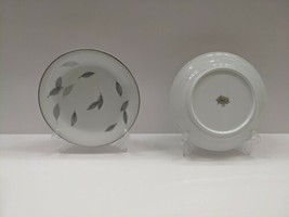 RC Japan 276 Bread & Butter Plates  White/Grey/Black/Silver/Blue Leaves - $4.95