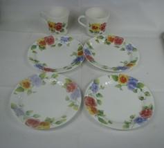 Corelle SUMMER BLUSH Lot 4 Dessert Bread Plates & 2 Mugs Pansies - $17.81