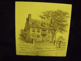 ANTIQUE MINTON CHINA WORKS OLD HANCOCK HOUSE IN BOSTON HISTORICAL TILE - $29.70