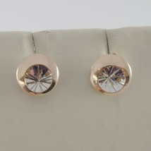18K WHITE PINK GOLD ROUND EARRINGS FINELY WORKED, DOUBLE RAYS STAR MADE IN ITALY image 1