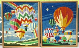 Set Of 2 Vintage Framed Art Needlepoint Picture Longstitch Hot Air Ballo... - $141.55