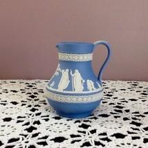 Wedgwood Blue/White Relief Jasperware Pitcher/Jug Matte Neoclassical Fig... - $49.00