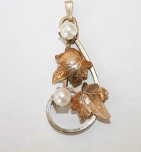Vintage Gold Plated IPS Imperial Pearl Syndicate Leaf Necklace Pendant  ... - $40.00
