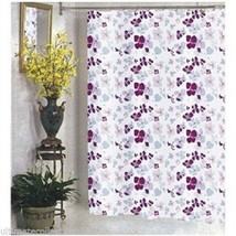 Joanne Fabric Shower Curtain Purple Violet Floral Print Lilac Pink Maroo... - $11.88