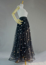 BLACK MAXI Tulle Skirt Women Black Bling Party Prom Skirt High Waist Plus Size  image 4