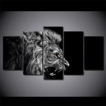 5 Pcs Lion White Black Home Decor Wall Picture Printed Canvas Painting - $45.99+