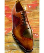 Genuine Leather Men's Handmade Multi color patina hand finish oxford shoes  - $179.99+