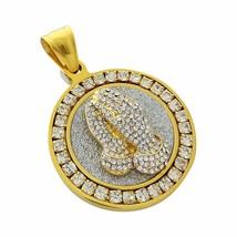 Praying Hands Pendant on Diamond Framed Medallion Stainless Steel Necklace - $22.99