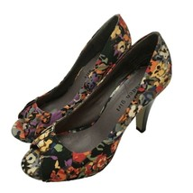 Steve Madden Womens Black Yellow Floral Print Ruched Open-Toes Heel Shoe... - $18.81