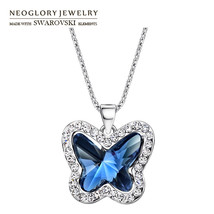 Neoglory Austria Crystal & Rhinestone Charm Long Necklace Glaring Butter... - $12.98