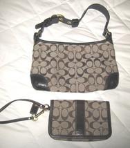 Authentic COACH Brown Signature C Shoulder Handbag Black Trim 11430 + Wristlet - $49.49