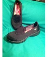 SKECHERS GOGA MAX GO WALK 4 WOMEN'S BLACK SLIP ON MEMORY FOAM SHOES DISP... - $26.92
