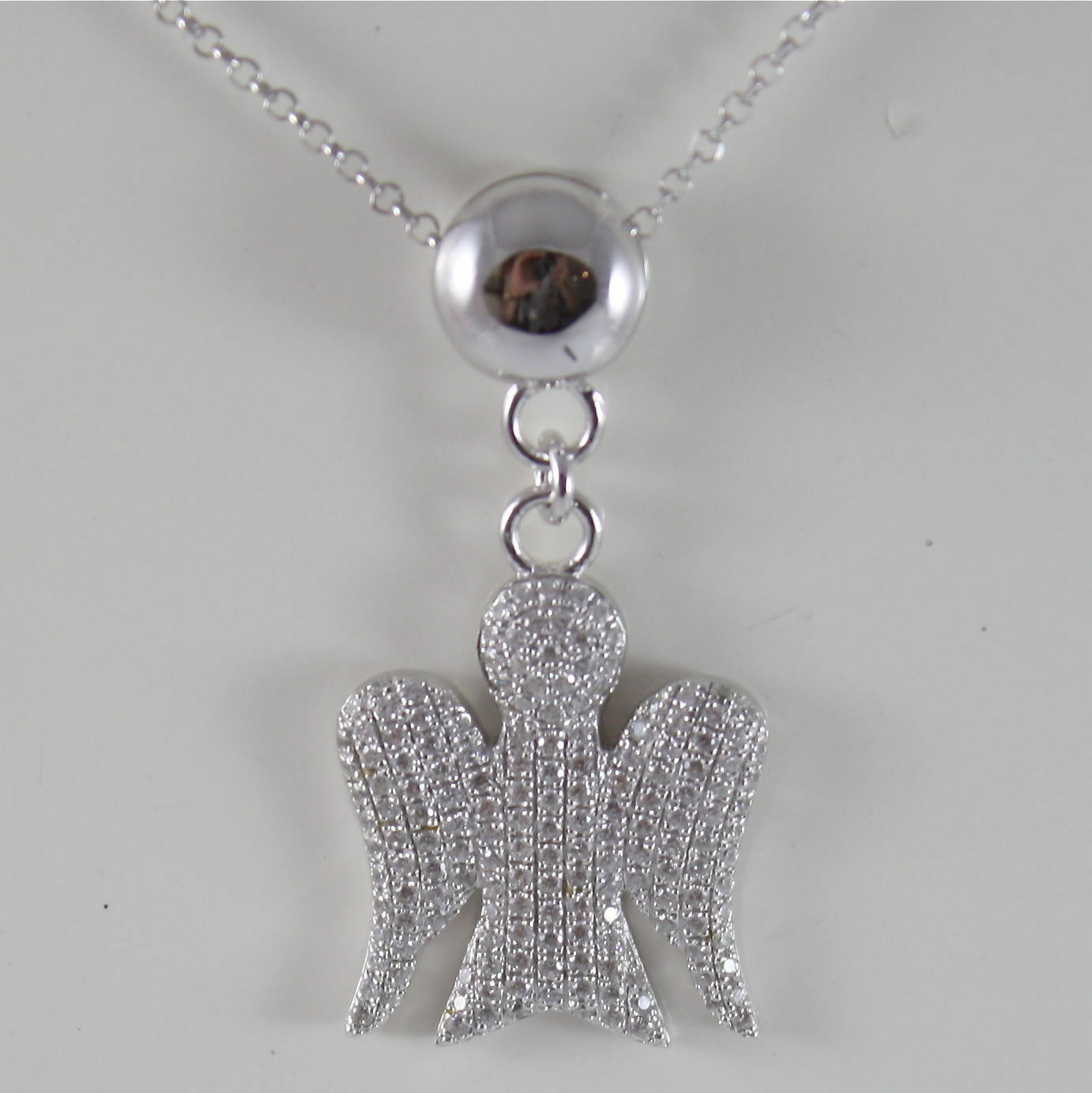 925 SILVER NECKLACE WITH ANGEL PENDANT GIA100 MADE IN ITALY BY ROBERTO GIANNOTTI