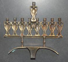 Judaica Menorah Hanukkah Vintage Israel Bronze Hen Holon Signed Oil Jug 1960's image 7
