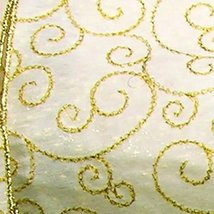 The Ribbon People Semi Sheer Metallic Ivory and Gold Curl Print Wired Cr... - $54.94