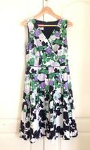 Talbots Women Dress 6 Purple Green Black Faux Wrap Sleeveless Pleated Fi... - $69.29