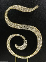 Crystal Rhinestone Covered Gold Monogram Wedding Cake Topper Letter S by Unknown - $13.10