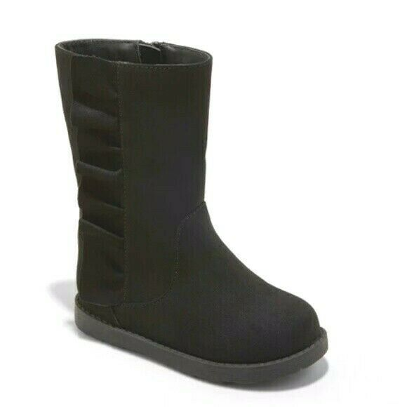 Cat & Jack Girls Toddler Black Faux Leather Reva Ruffle Winter Fashion Boots NWT