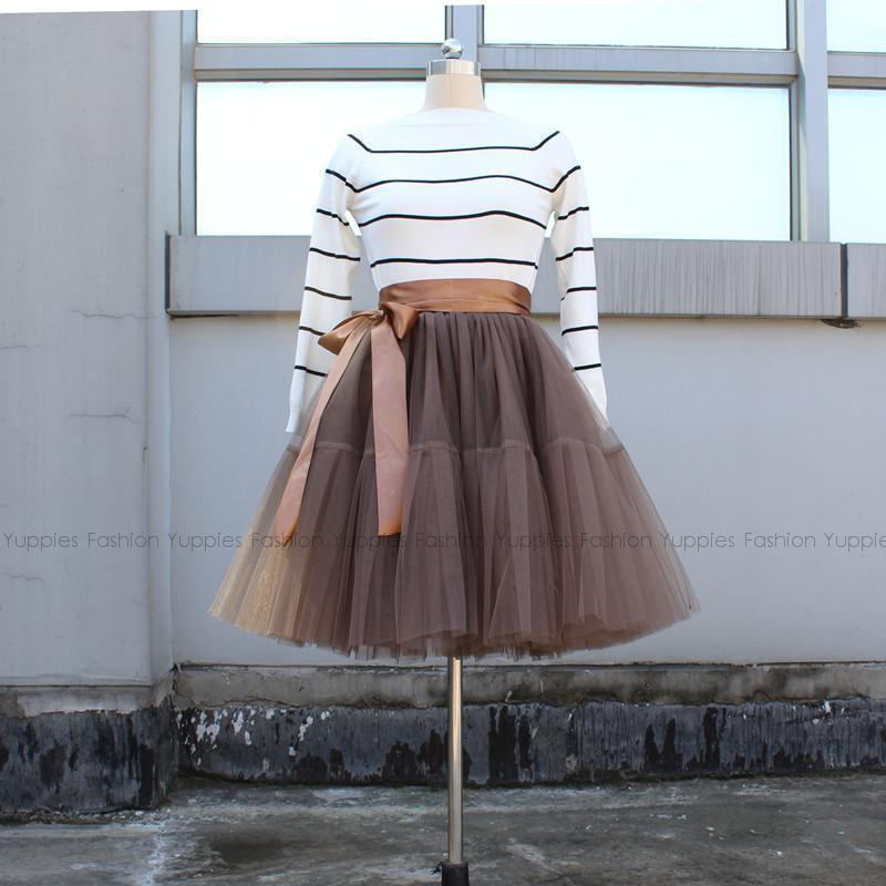 Women Layered Tulle Pleated Ball Gown Skirts