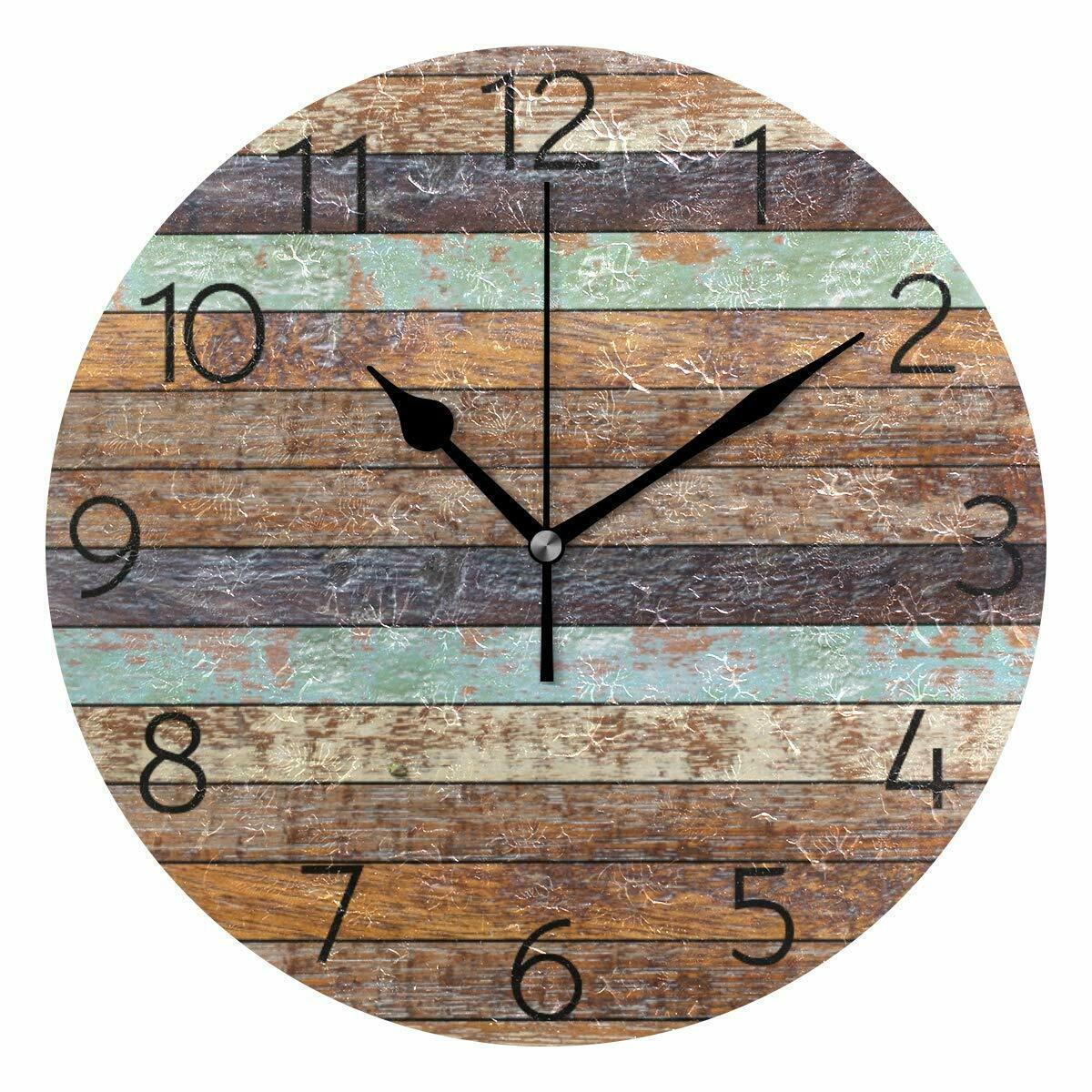 "Primary image for Nice Wall Clock 9.8"" Colorful Vintage Wooden Style Rustic Shabby Chic Farmhouse"