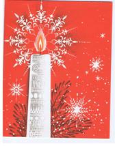 MCM Candle Snowflakes American Greeting Vintage Christmas Card - $7.99