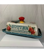 The Pioneer Woman Vintage Floral Butter Dish Makes Everything Better New - $24.74