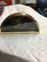 Vintage Linden gold tone 1/3 circle Mantel Clock Desk Shelf Alarm Quartz... - $29.99